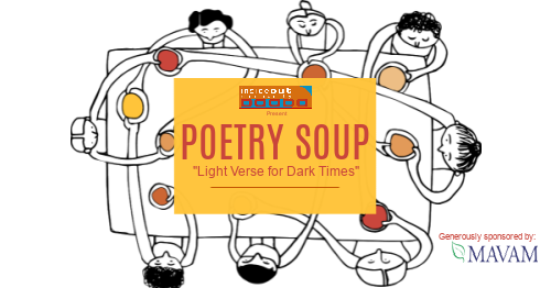 """Graphic showing people sitting around a table with the wording 'Poetry Soup """"Light verse for dark times""""'."""