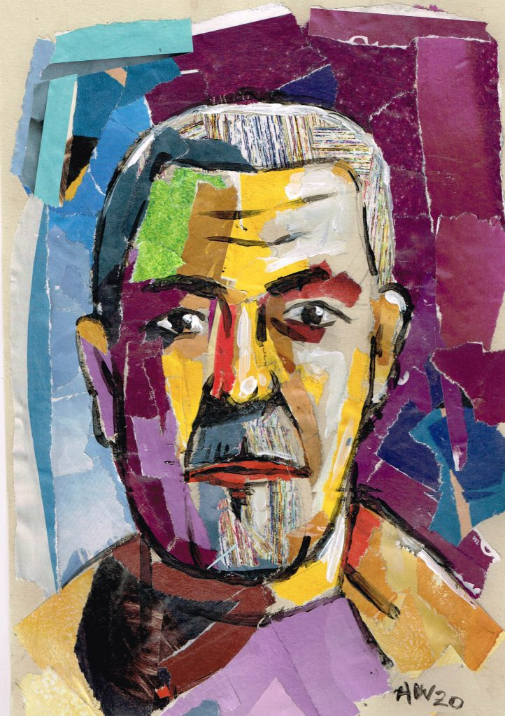 Brightly coloured collage of a man's face.