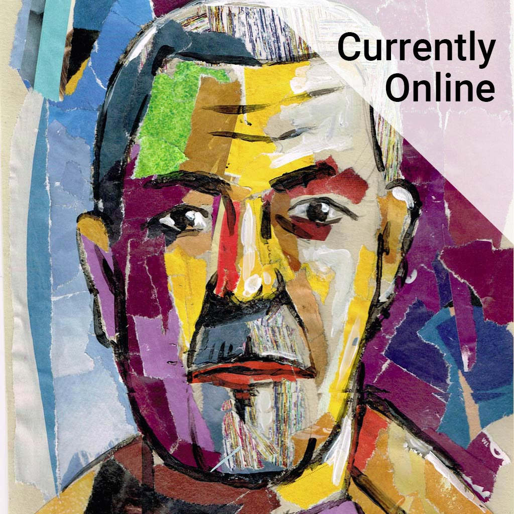Brightly coloured collage of a man's face with the wording 'Currently online'.