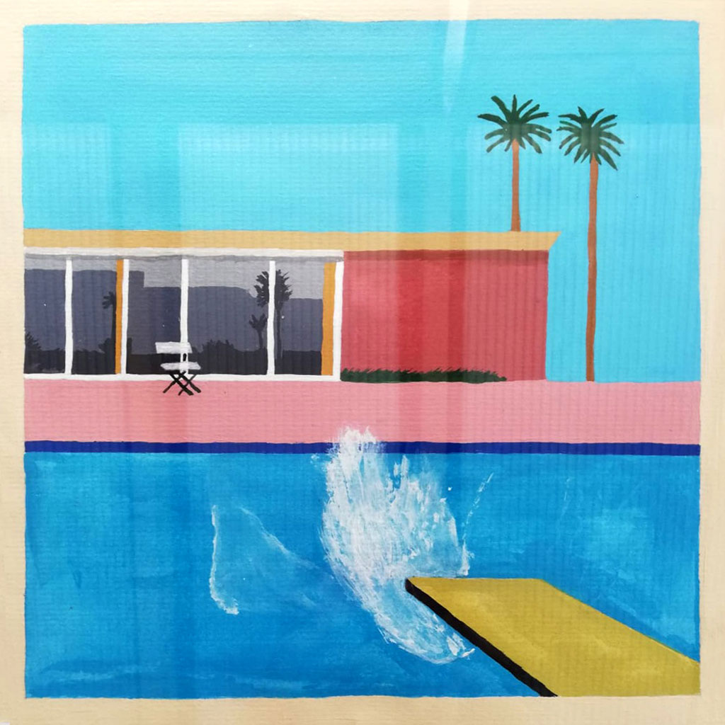 Artwork showing a swimming pool and diving board.