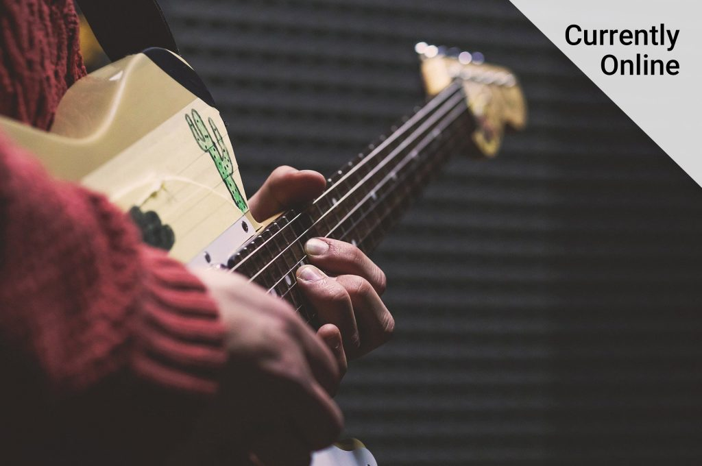 Close up images of a person holding a guitar with fingers on the strings with the words 'currently online'..