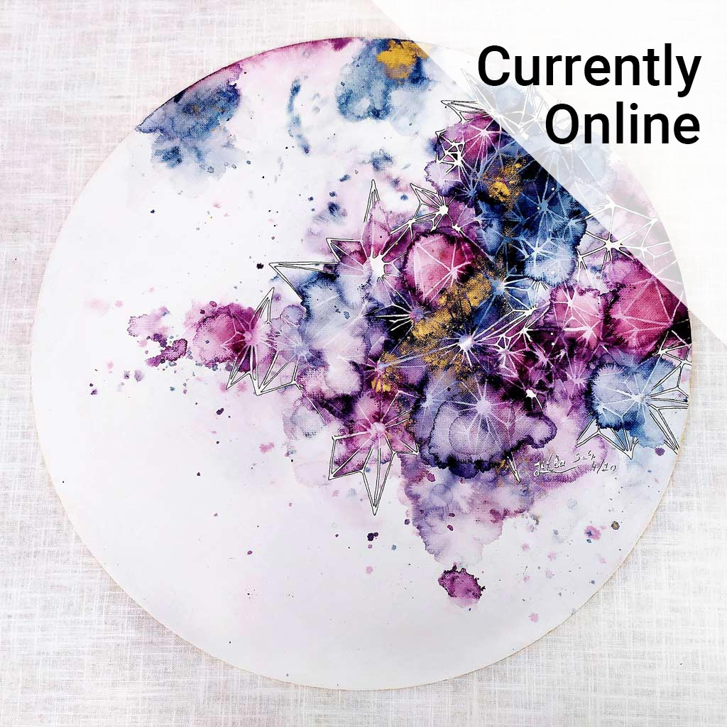 Colourful artwork alongside the wording 'Currently online'.