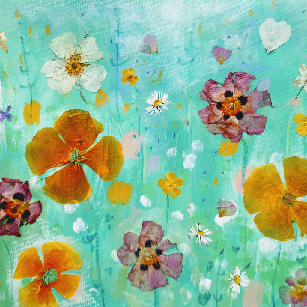 Artwork showing flowers against a blue background.