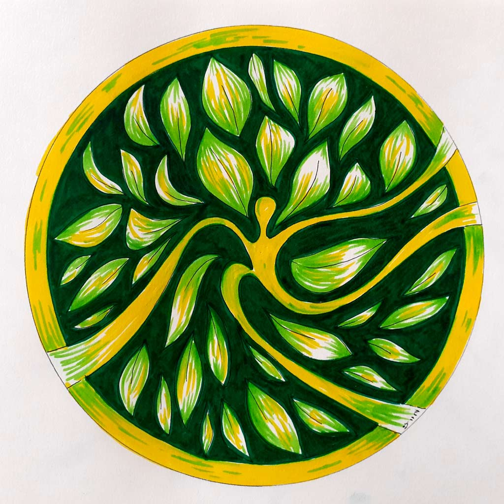 Colourful yellow and green artwork.