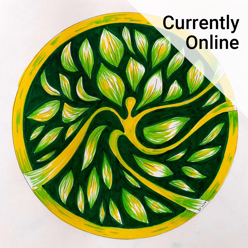 Colourful yellow and green artwork alongside the wording 'Currently online'.