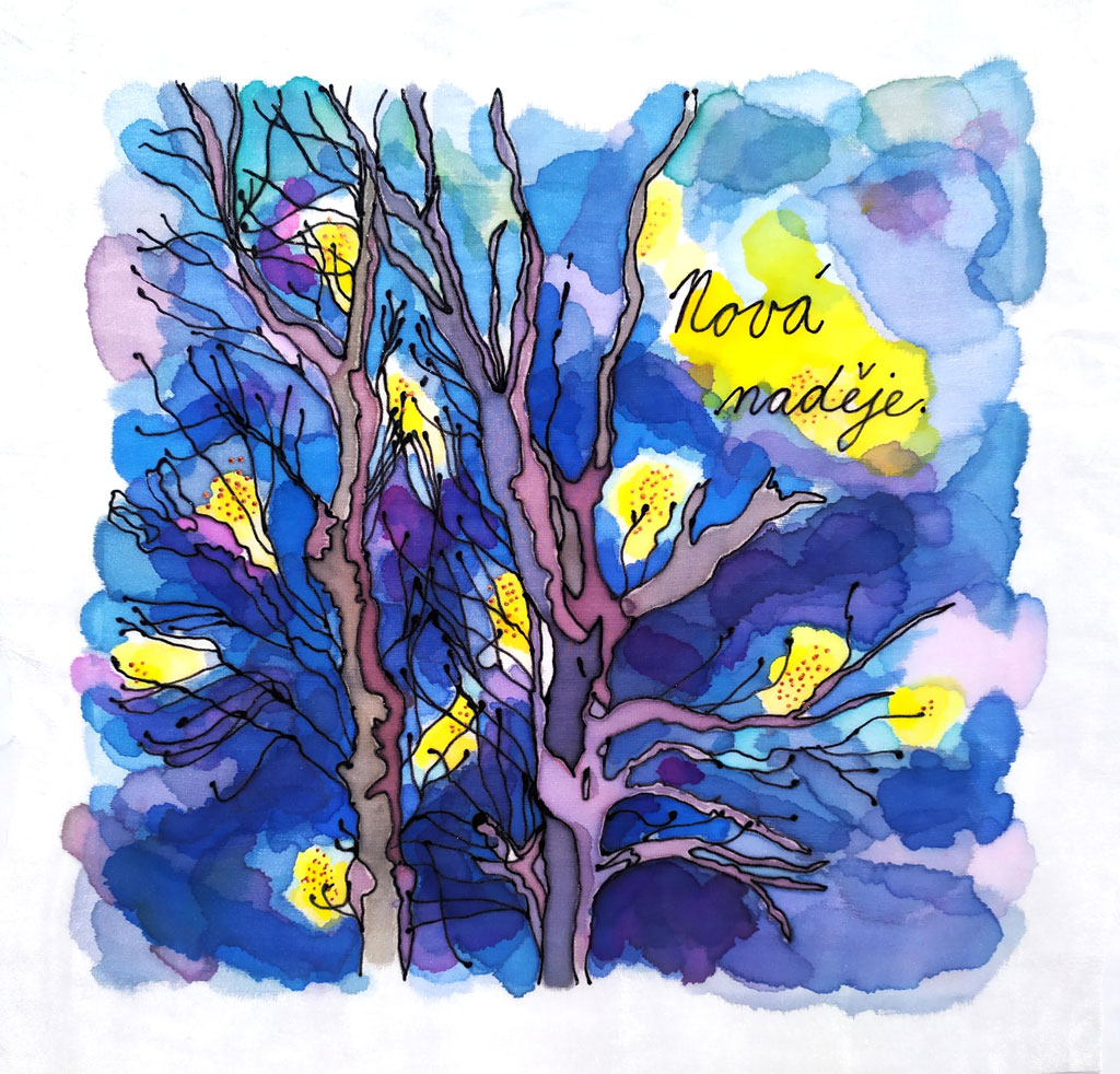 Artwork showing tree branches against a blue background with the wording 'Nova nadeje'