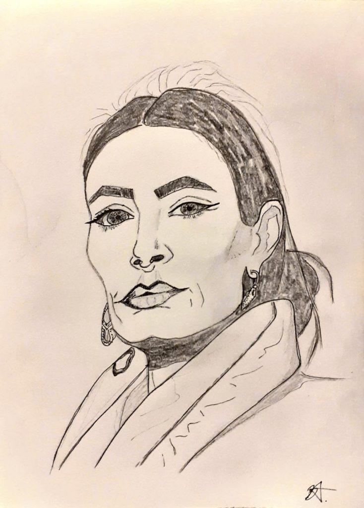 A pencil portrait of a woman.