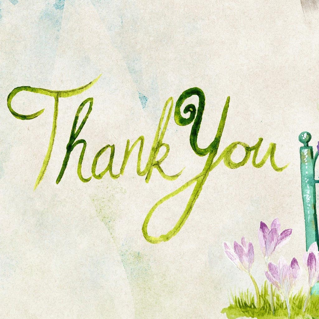 Watercolour painting showing the words 'Thank you'