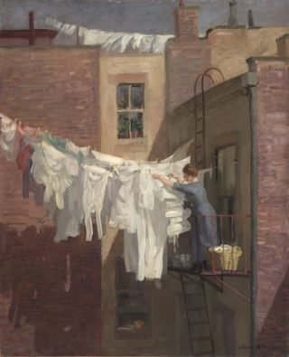 Painting showing a woman standing on a balcony pegging out washing between two buildings.