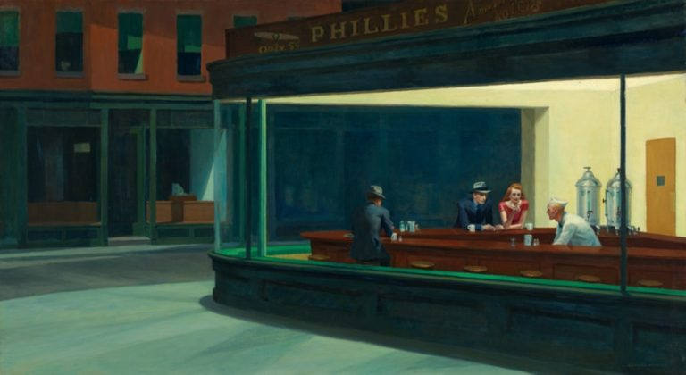Painting of two men and a woman at a bar with a barman, viewed from outside. .