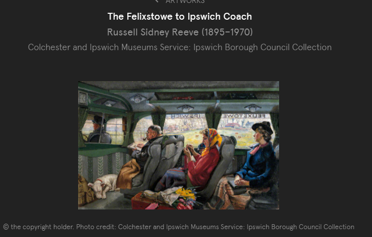 Painting showing the driver and two women, a man and a dog sitting in a coach.