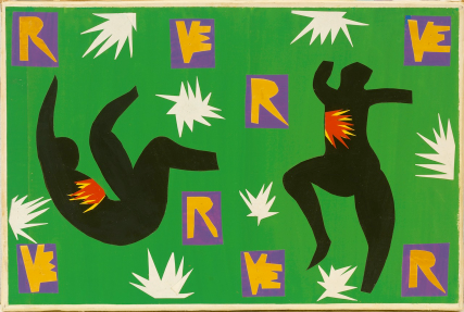 Artwork showing two black figures against a green background with white flashes and orange lettering.