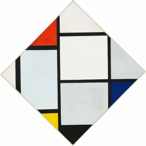 Artwork showing bold black lines with white, red, black and yellow sections.